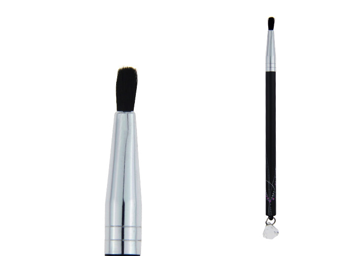 Deep Black Plastic Handle Lipstick And Lip Liner With Goat Hair / Aluminum Ferrule