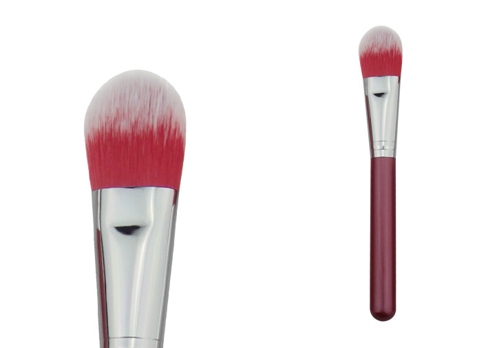Face Mask Powder Foundation Brush 100mm Red Wooden Handle Nylon Hair