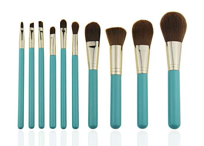 Blue Wooden Handle Professional Makeup Brush Set With Gold Aluminum