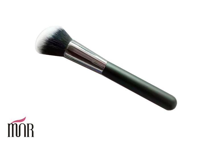 Angel Hair Head Contour Blush Brush With Black Long Wooden Handle