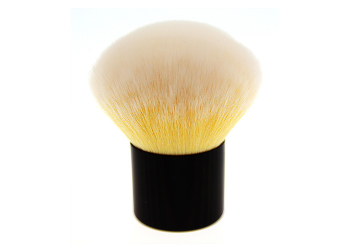 Yellow Goat Hair Kabuki Makeup Brush Powder Cosmetic Brush Of Wooden Handle